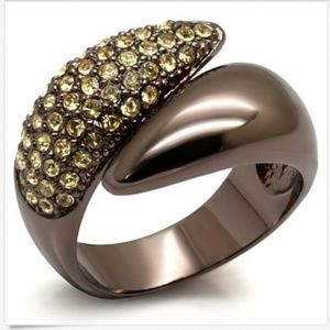 Chocolate Gold Art Deco Cocktail Ring Size 9